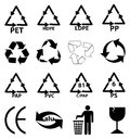 Packaging recycle icons set in black Stock Photos