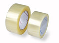 Packaging tapes two rolls of transparent tape isolated image o adhesive various diameters photographed on a white background added Royalty Free Stock Photos