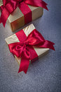 Packed Giftboxes On Grey Backg...