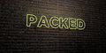 PACKED -Realistic Neon Sign on Brick Wall background - 3D rendered royalty free stock image