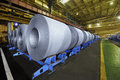 Packed rolls of steel sheet Royalty Free Stock Photo
