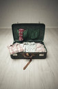 Packed Vintage Suitcase Royalty Free Stock Photos
