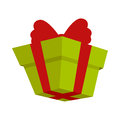 Packing Present Icon with Red Bow in Flat Style. Royalty Free Stock Photo