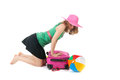 Packing the suitcase by a young woman pink for summer vacation an blond Royalty Free Stock Photography