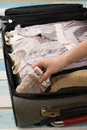 Packing to go on vacation Stock Photo