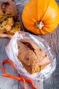 Packing up edible gift pumpkin fruit bread Stock Photo