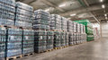 Packs of beer in a brewery warehouse Royalty Free Stock Photo