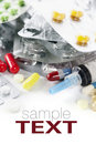 Packs of different pills and Syringe Royalty Free Stock Images