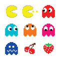 Pacman and ghosts s computer game icons set vector colour of pixelated retro Stock Image