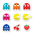 Pacman and ghosts s retro computer game icons vector colour lebels set of pixelated on white Royalty Free Stock Images