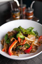 Pad kee mao thai dish drunken noodle with beef and mixed vegetables Stock Images