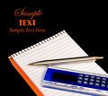 Pad Pen and Calculator over black with Copy space Royalty Free Stock Photo