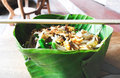 Pad thai in banana leaf Stock Image