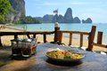 Pad thai with chicken traditional dish an ocean background at tonsai beach Royalty Free Stock Image