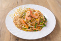 Pad thai koong dish of stir fried rice noodles Royalty Free Stock Photos