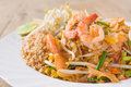 Pad thai koong dish of stir fried rice noodles Royalty Free Stock Photography
