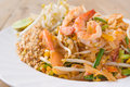 Pad thai koong dish of stir fried rice noodles Royalty Free Stock Images