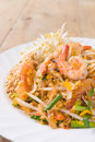 Pad thai koong dish of stir fried rice noodles Stock Image