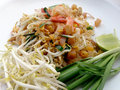 Pad Thai, stir-fried rice noodles with shrimp. Royalty Free Stock Photo