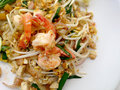 Pad Thai, stir-fried rice noodles with shrimp.Thai Fried Noodles Royalty Free Stock Photo