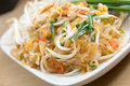 Pad thai stir fry noodles with shrimp Royalty Free Stock Photo