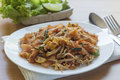 Pad thai thai food stir fry noodles with shrimp tofu and egg Royalty Free Stock Photo