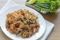 Pad thai thai food stir fry noodles with shrimp tofu and egg Stock Photography