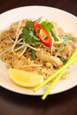 Pad thai thai signature dish popular noodles with chicken Royalty Free Stock Photos