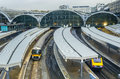 Paddington railway station in london train leaves uk Stock Photo