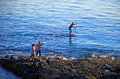Paddle boarder off divers cove laguna beach california image shows a a couple standing on the rocky coastline look on Stock Photos