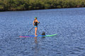 Paddle boarding attractive female near singer island florida Royalty Free Stock Image
