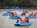 Paddle boats in mexico city photo of at a park on Stock Images