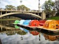 Paddle boats in river torrens Royalty Free Stock Photos