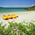Paddle boats on white sandy beach and emerald sea with detail Stock Photos
