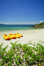 Paddle boats on white sandy beach and emerald sea with detail Stock Image
