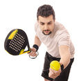 Paddle master tennis serve isolated guy with racket and ball Royalty Free Stock Image