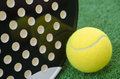 Paddle racket and ball closeup image of tennis Stock Photos