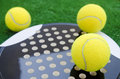 Paddle tennis objects closeup of on grass Royalty Free Stock Photography