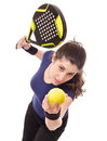 Paddle tennis serve isolated girl Royalty Free Stock Photos