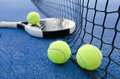 Paddle tennis still life objects on artificial turf ready for tournament Royalty Free Stock Image