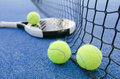 Paddle tennis still life objects on artificial turf ready for tournament Royalty Free Stock Photography
