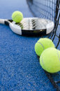 Paddle tennis still life objects on artificial turf ready for tournament focus in second ball Stock Image