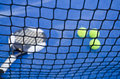Paddle tennis still life objects ion artificial turf ready for tournament Stock Photography
