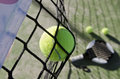 Paddle tennis still life objects ion artificial turf ready for tournament with hard dramatic shadows Stock Photos