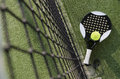 Paddle tennis still life objects on turf near to net Stock Photo