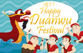 Paddlers Team and Dragon Boat for Duanwu Festival, Vector Illustration