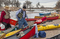 Paddling lunch break south platte river evans colorado april paddlers are taking a during annual all club paddle on april it is a Royalty Free Stock Photography