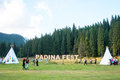 Padina fest outdoor festival with sign in romania Stock Photos