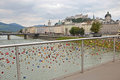 Padlock bridge salzburg august padlocks on in austria august lovelocks are left by sweethearts on bridges to symbolise their love Royalty Free Stock Images