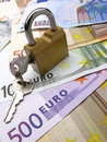 Padlock and dollar, euro Stock Photography